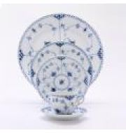 Blue Fluted Half Lace Five-Piece Place Setting
